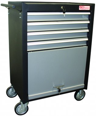Workshop Trolley 4 Drawers, 1 folding Compartment empty