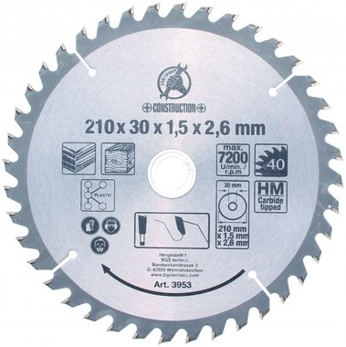 Carbide Tipped Circular Saw Blade, Ø 210 mm