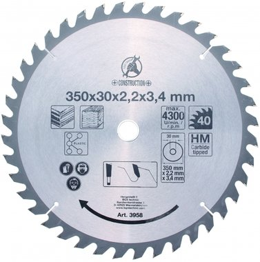 Carbide Tipped Circular Saw Blade, Ø 350 mm