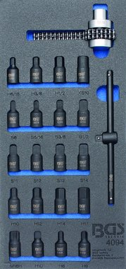 Tool Tray 1/3: Oil Pan Sockets / Oil Filter Chain Wrench 22 pcs