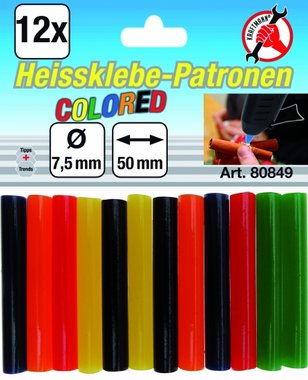 12-piece Colored Glue Sticks, 7.5 mm