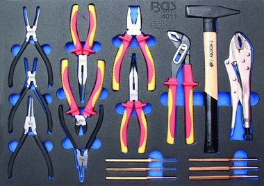 3/3 Tool Tray for Workshop Trolleys: 17-piece Pliers Assortment, Hammer, Pin Punch
