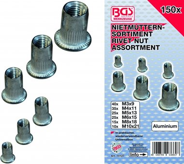 150-piece Rivet Nuts Assortment, aluminum