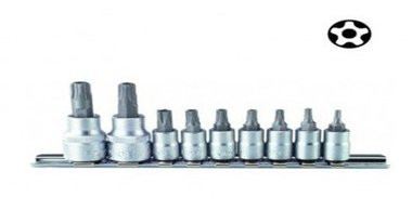 1/4 Five-sided Star tamperproof socket bit set 9pc