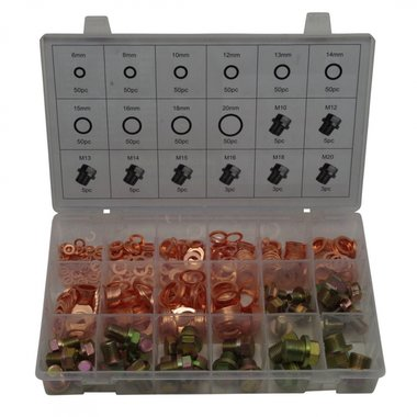 Oil Drain Plug Screws & Copper O-Ring Assortment 534 pc