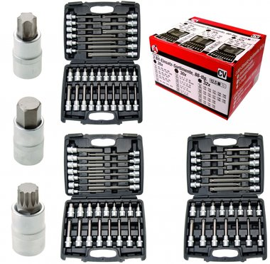 88-piece 1/2 Bit Socket Sets: Spline, Internal Hexagon, T-Star