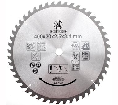 Carbide Tipped Circular Saw Blade, Diameter 400 mm, 48 tooth