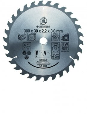 Carbide Tipped Circular Saw Blade, Diameter 300 mm, 30 tooth