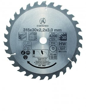 Carbide Tipped Circular Saw Blade, Diameter 315 mm, 30 tooth