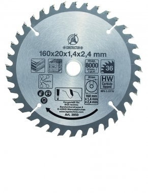 Carbide Tipped Circular Saw Blade, Diameter 160 mm, 36 tooth