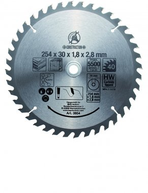 Carbide Tipped Circular Saw Blade, Diameter 254 mm, 40 tooth