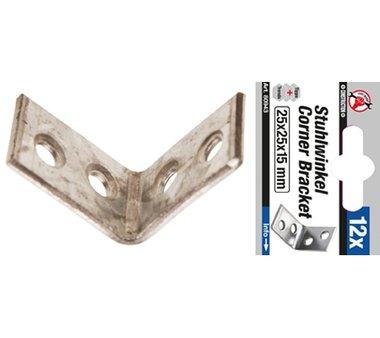 12-piece Steel Bracket Set 25 x 25 x 15 mm