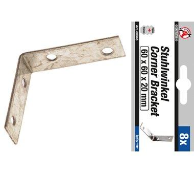8-piece Steel Bracket Set 60 x 60 x 20 mm