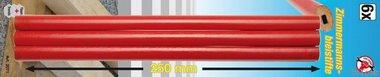 6-piece Carpenter's Pencil Set, 25 cm