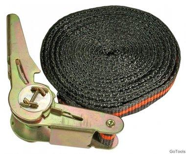 Ratchet Tie Down Strap, 5 m long, 25 mm wide