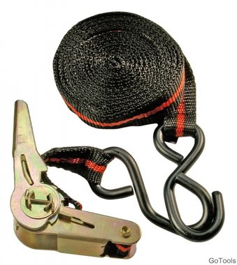 Ratchet Tie Down Strap, 5 m long, 24 mm wide, with two solid Hooks