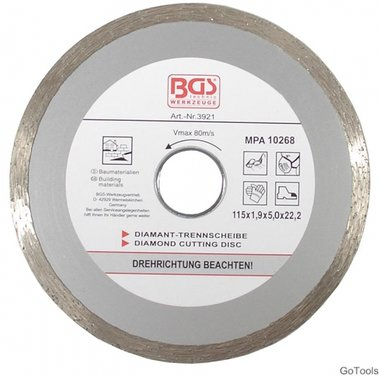 Diamond Cutting Disc, Dry Cut, cont. rim, 115 mm