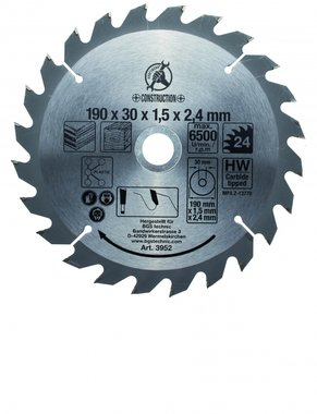 Carbide Tipped Circular Saw Blade, Diameter 190 mm, 24 tooth