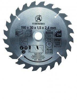 Carbide Tipped Circular Saw Blade, Diameter 190 mm, 24 tooth