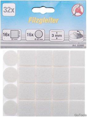 Felt Pads Set white 32 pcs