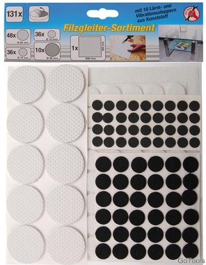 131-piece Felt Pad Assortiment, self-adhesive