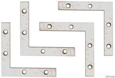 4-piece Steel Bracket Kit, 75x75x12 mm