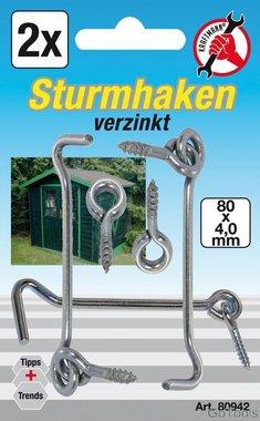 2-piece Lock Gate Hook and Eye Set, 4.0 x 80 mm
