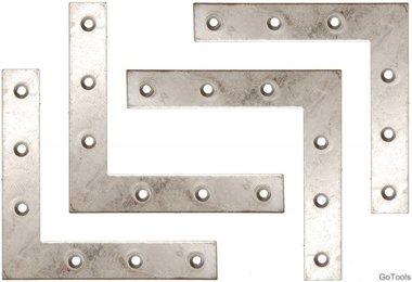 4-piece Steel Bracket Kit, 100x100x15 mm