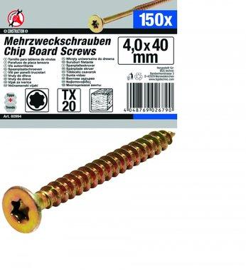 150-piece Multi-Purpose Screws, 4.0 x 40 mm, T20