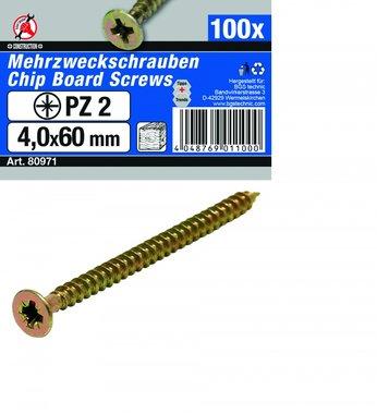 Multi Purpose Screws 4.0 x 60 mm, 100 pieces