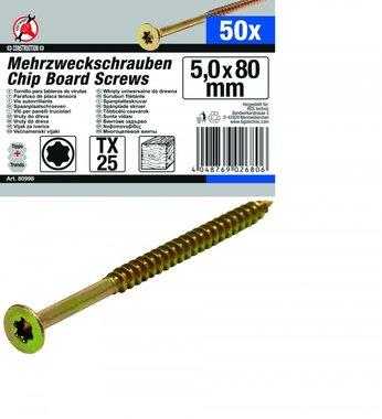 50-piece Multi-Purpose Screws, 5.0 x 80 mm, T25