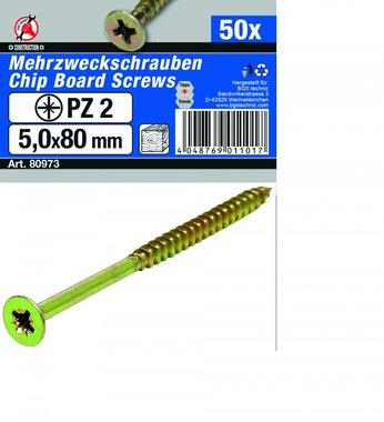 Multi Purpose Screws 5.0 x 80 mm, 50 pieces