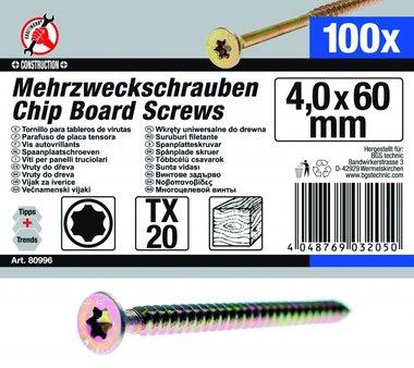 Multi-Purpose Screws, 4.0 x 60 mm, T20, 100 pieces