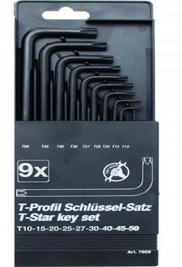 9-piece T-Star Wrench Set, T10 - T50