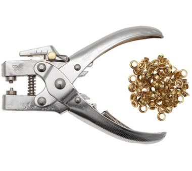 Hole Punch and Eyelet Pliers, 5 mm, incl. Eyelet Assortment, 180 mm