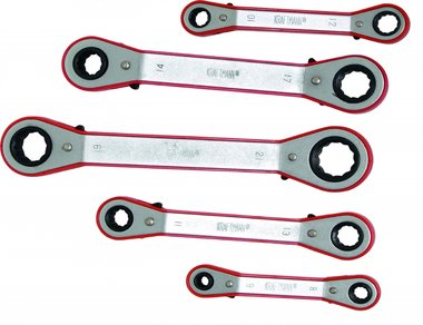 5-piece Ratchet Ring Wrench Set, 6x8 - 19x21 mm