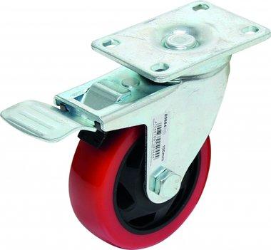 Castor with Brake, red/black, 100 mm