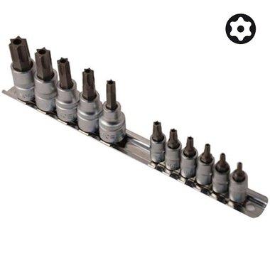 1/4 & 3/8 Star tamperproof socket bit set 11pc