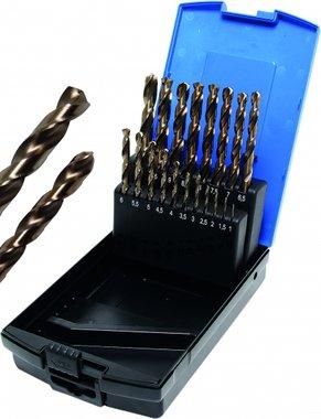 19-piece Twist Drill Set, HSS-G M35 Cobalt Steel, 1 - 10 mm