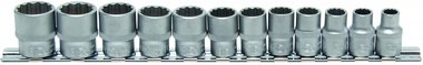 12-piece Socket Set, 3/8, 12-pt., 8 - 19 mm