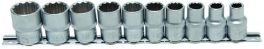 10-piece Socket Set, 1/2 , 12-pt., in INCH, 3/8 - 15/16
