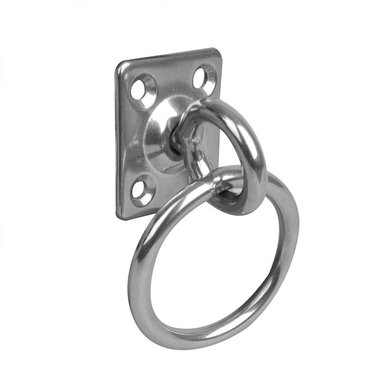 Eye plate with swivel and ring, 33x38x6mm, RVS AISI 316, 4 hole