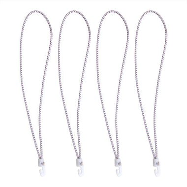 Sail tie with nylonhooks, 4 pieces in bag, 55cm, white