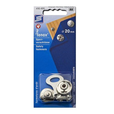 Tenax safety fasteners, 20mm, 2 pieces in blister