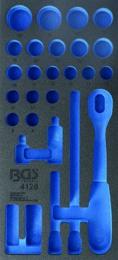 1/3 Tool Tray (408x189x32 mm), empty, for 27-piece 1/2 Socket Set