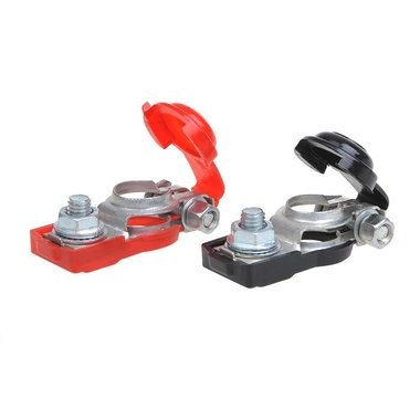Battery terminal clamp set (+) and (-) with plastic protection red/black