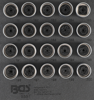 Rim Lock Socket Set for Opel, Vauxhall (Version B)  20 pcs.