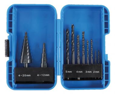 Step Drill and Twist Drill Set diameter 4 - 12 / 4 - 20 mm 2 - 5 mm 10 pcs.