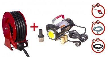 Diesel pump 230 V + roll-up roller + pump set