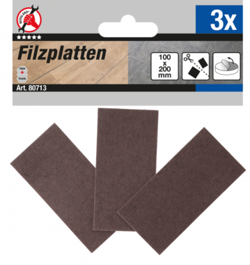 Felt Pad  Mats  brown  100 x 200 mm  3 pcs.